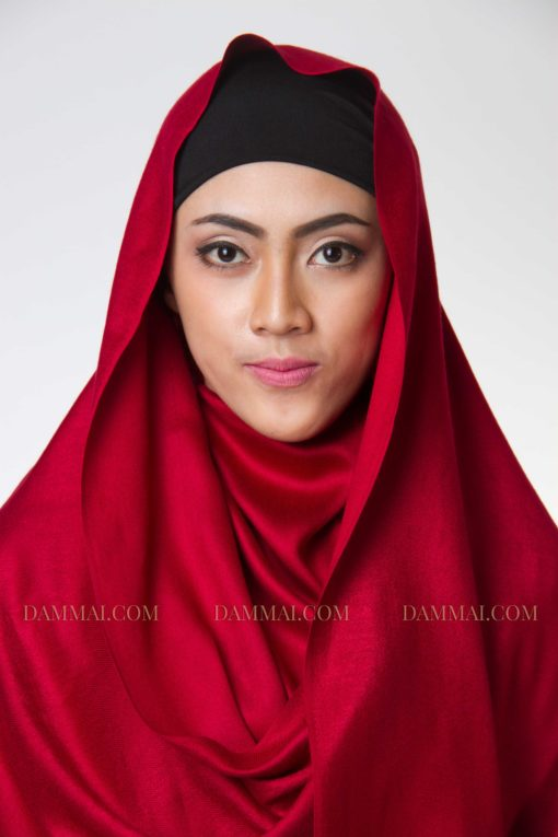 cherry red fever hijab pashmina 1101