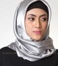 classy silver jilbab segi empat 702