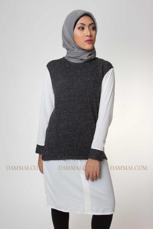 grey white muslim fashion tunik 1701