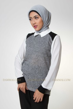 grey-white shirt muslim blouse 1901
