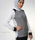 grey-white shirt muslim blouse 1902