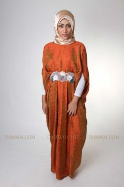 orange flower lux kaftan muslim 1101