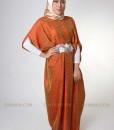 orange flower lux kaftan muslim 1102