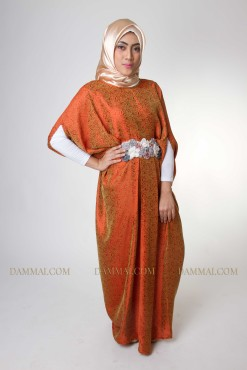 orange flower lux kaftan muslim 1102