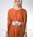 orange flower lux kaftan muslim 1103