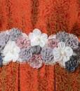 orange flower lux kaftan muslim 1104