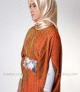 orange flower lux kaftan muslim 1105