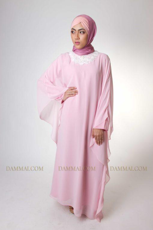 pastel pink modern gamis 1401