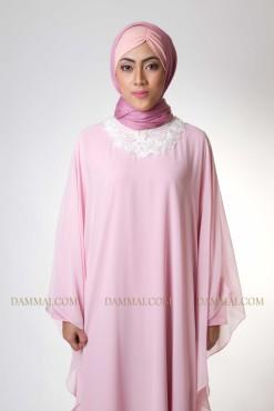 pastel pink modern gamis 1402