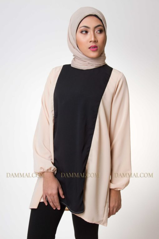 plain black & peach muslim blouse 1801