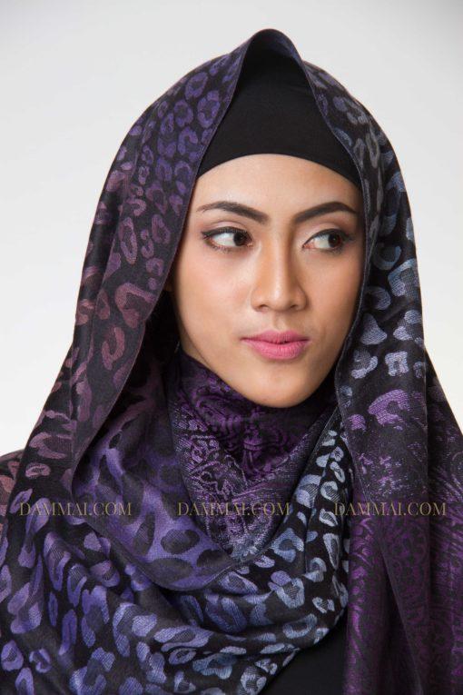 purple leopard pashmina 1301