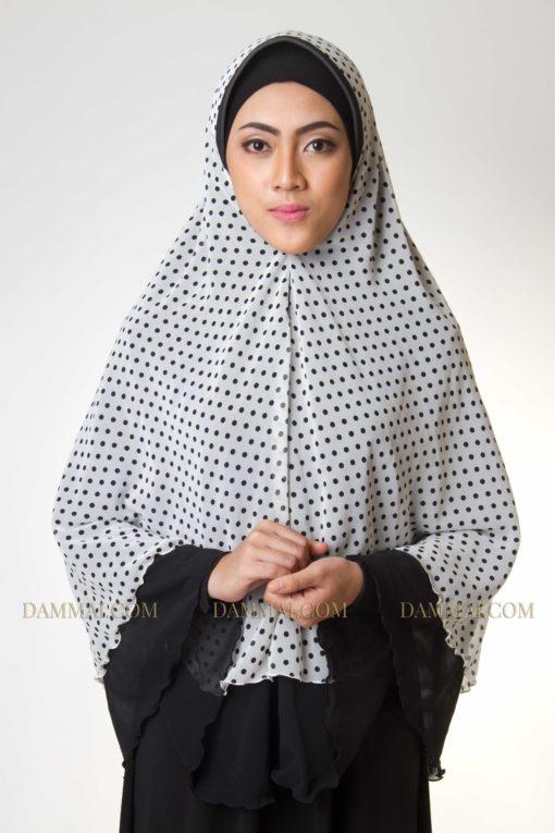 white polkadot jilbab syar'i 101